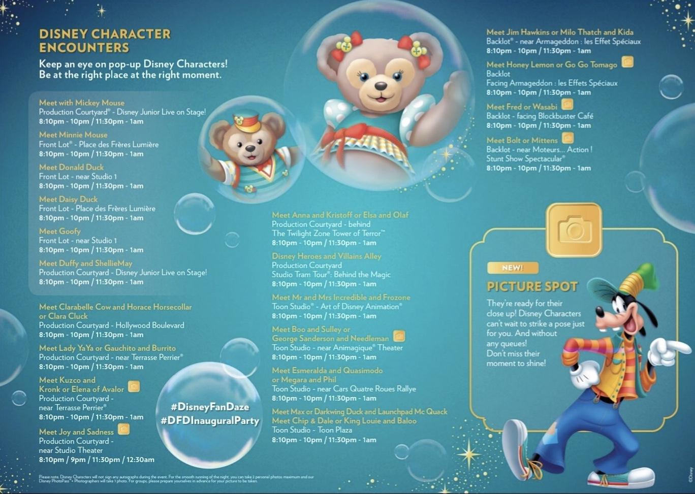 FanDaze Character Map