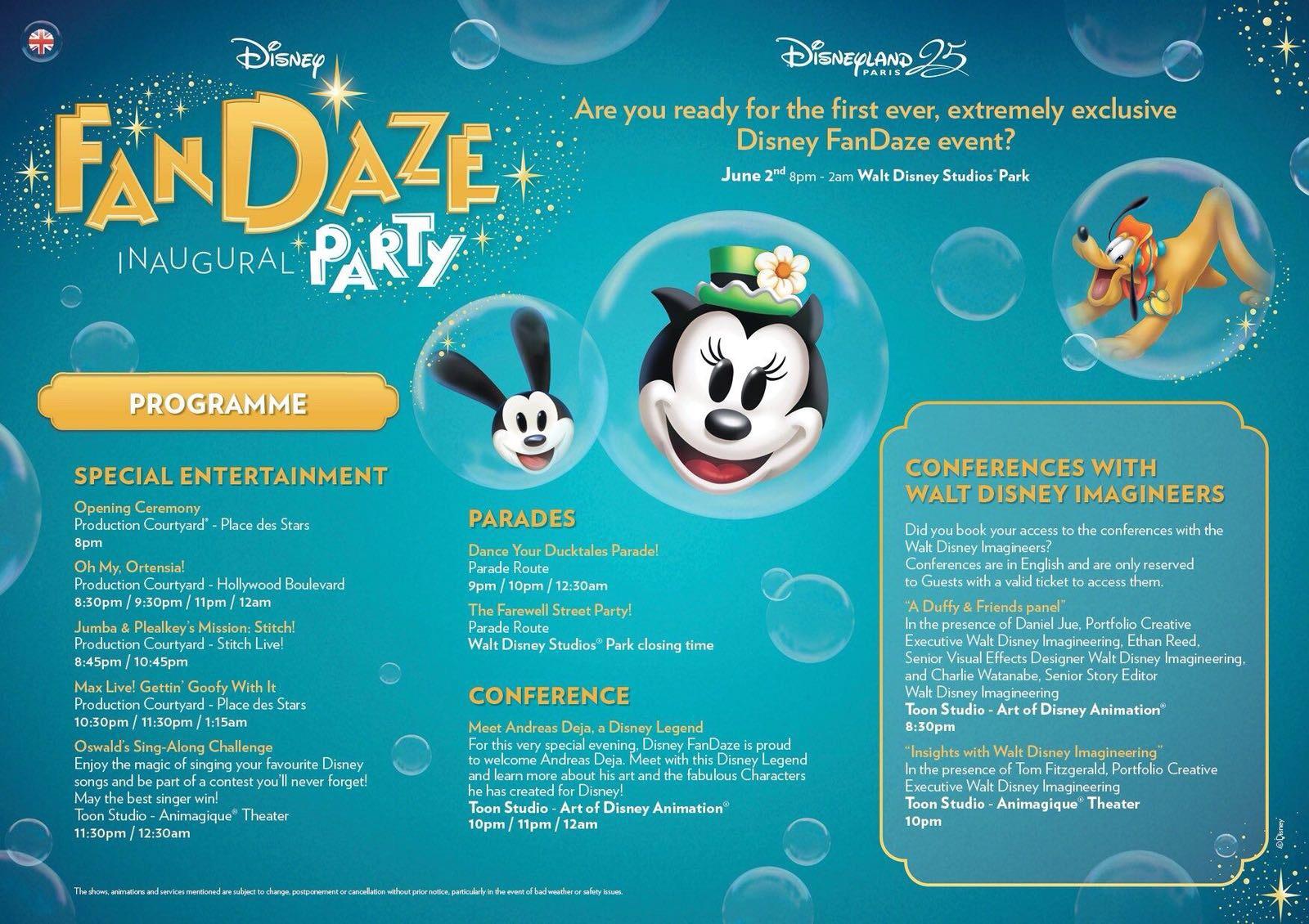 FanDaze Party Programme