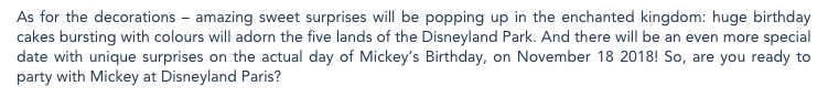 Disneyland Paris Mickey's 90th Press Release